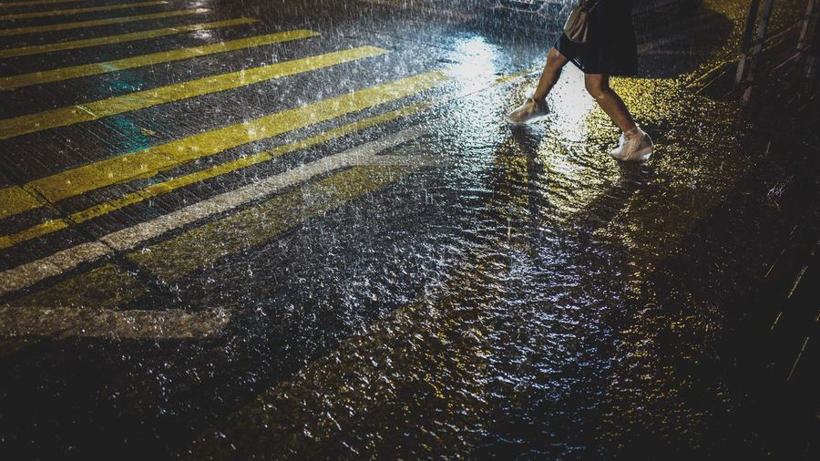 Low section of woman on wet road