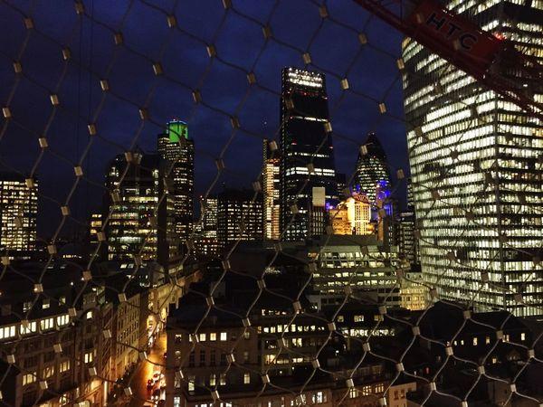 Monument Viewing Platform Safety Net Night Citylights London The Gherkin Cheesegrater Building Walkietalkiebuilding