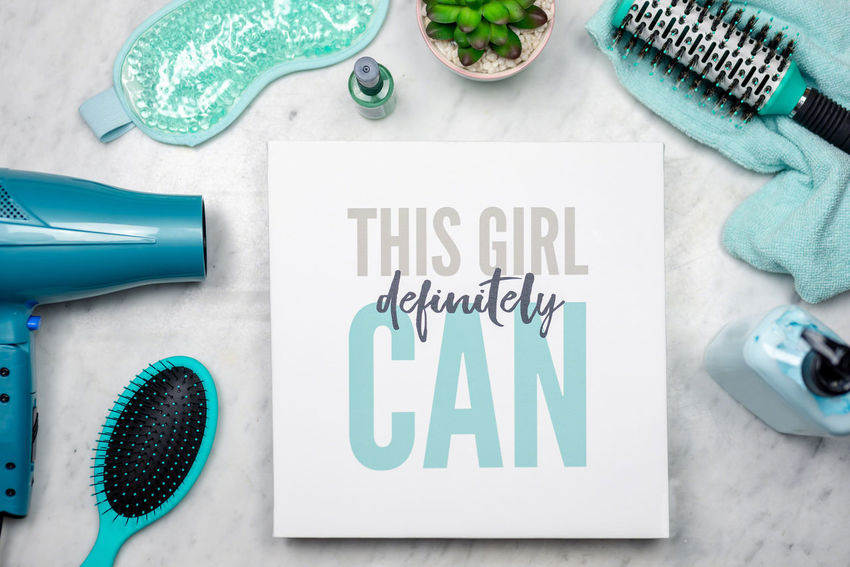 """Inspirational message of empowerment and confidence - """"This girl definitely can"""" - gender equality concept Confidence  Girl Power Positive Message Attitude Background Banner Beauty Can Do  Concept Empowerment  Flatlay Gender Equality Indoors  Message No People Sign Smart And Pretty Text Women Words"""