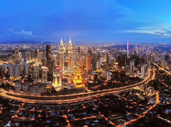 Kuala Lumpur city centre Beauty Outdoor Landscape Travel Skyline Sunset Getty Images EyeEm Best Shots EyeEm Selects Aerial Photography Aerial Shot Dronephotography Travel Destinations City Cityscape Urban Skyline Illuminated Skyscraper Modern Panoramic Long Exposure Aerial View Light Trail Financial District  Office Building Exterior Tall - High Tower Downtown District Office Building Traffic