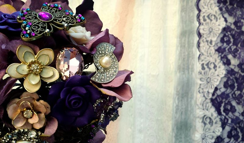 Customized Handmade Vintage Jeweled Lace Bouquet