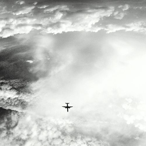 Airplane Skyporn Sky Clouds And Sky Blackandwhite Phonecamera View