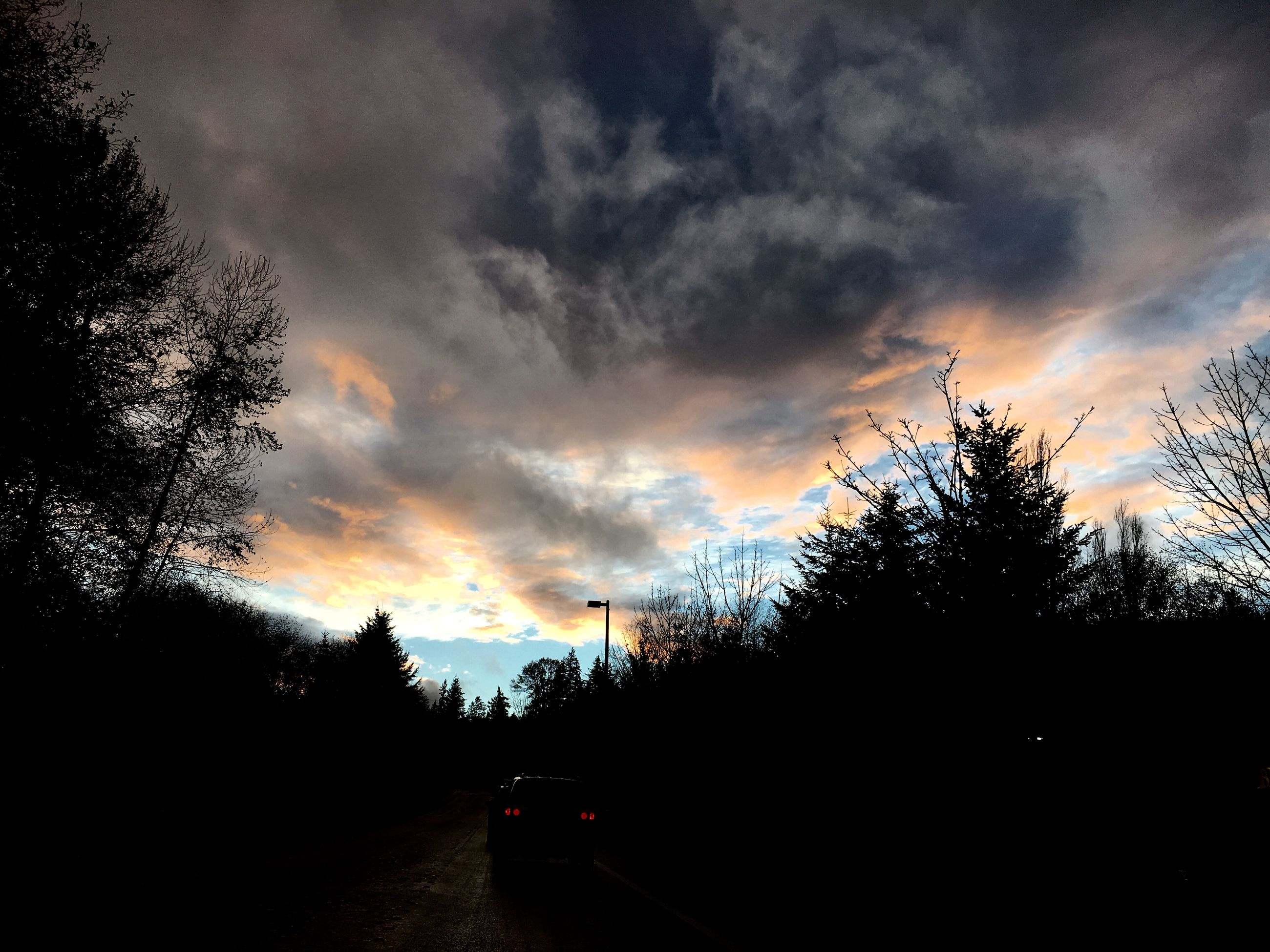sunset, silhouette, sky, cloud - sky, tree, cloudy, cloud, beauty in nature, tranquility, scenics, tranquil scene, nature, dramatic sky, weather, overcast, orange color, dusk, storm cloud, outdoors, idyllic