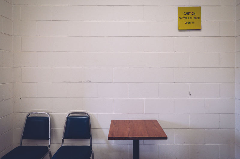 Empty Chairs Chairs Communication Day Guidance Indoors  Negative Space No People Rule Of Thirds Text Yellow
