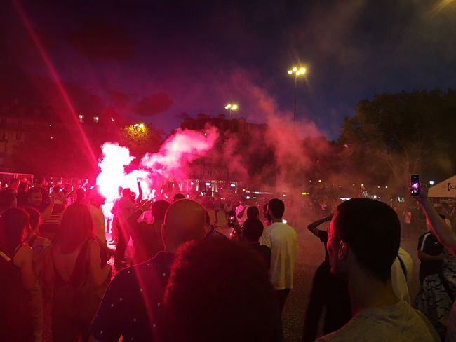 Party for final of world cup of French team at Bastille Smoke Bomb Lighting Equipment Football Soccer Football Fan Football Worldcup World Cup 2018 French Team Group Of People Crowd Large Group Of People Night Real People Event Enjoyment Illuminated Nightlife Fun Celebration Positive Emotion