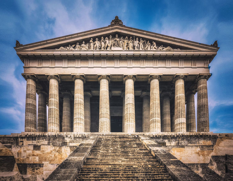Walhalla Ancient Ancient Civilization Archaeology Architectural Column Architecture Belief Building Exterior Built Structure Cloud - Sky Day History Low Angle View Nature Neo-classical No People Outdoors Pediment Religion Sky Staircase The Past Tourism Travel Travel Destinations Walhalla