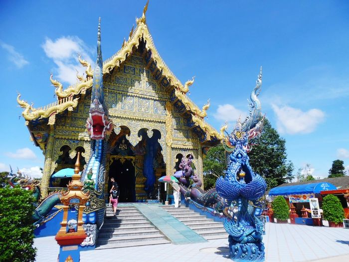 The Blue Temple, Chiang Rai Tour Tourism Travel Traveller Wanderlust Wandering Wander Inspiration Thailand Amazing Chiangrai Daytour World Blue Temple New Lost No People No Tourists Religion Pagoda Architecture Blue Sky Statue Arts Culture And Entertainment AI Now