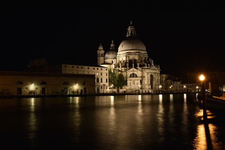 View of illuminated cathedral at night
