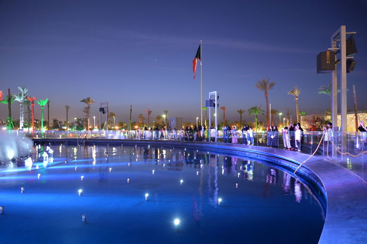 View of swimming pool at night