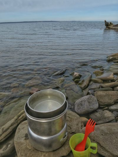 Landscape Lake View Beach Preparing Coffee Outdoors Västanå Nature Reserve Walking