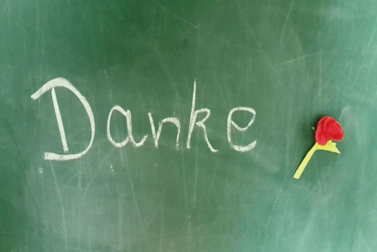Danke Blackboard  Indoors  No People Day Text German Language Chalkboard Thanks  Grateful Mothersday Flower Artifical Made Of Cloth Red Rosé Green handwritten Handwritten Retro Vintage