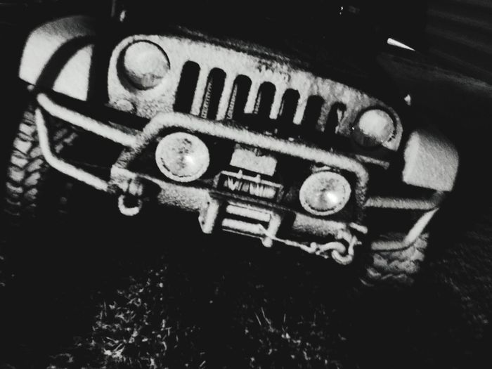 Snow Covered Jeeplove Blackandwhite Photography Jeep Snowintexas Snow No People