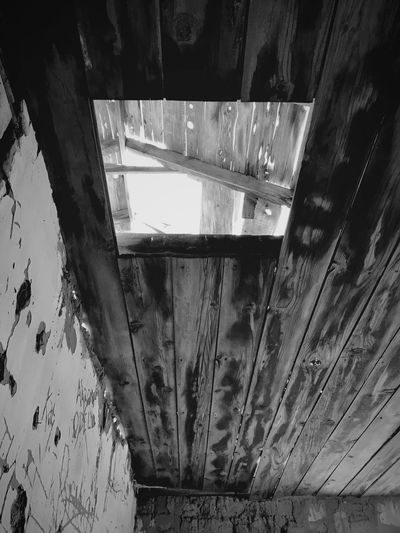 """""""Once Upon A Time In Cedarvale No. 5"""" How do I reach the light? Old Houses New Mexico Photography New Mexico Abandoned & Derelict Abandoned Buildings Abandoned Places Abandoned Low Angle View Blackandwhite Photography Black & White Black And White Blackandwhite Weathered Wood Weathered Attic Ceiling Indoors  No People Architecture Close-up"""