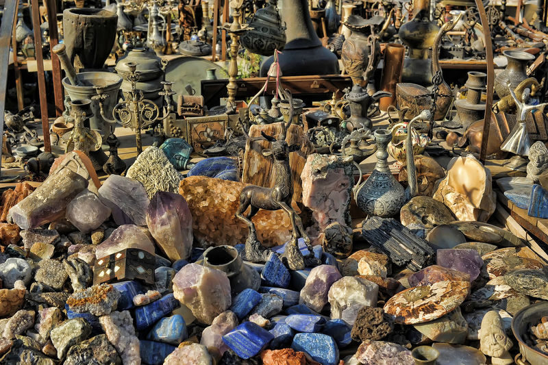 High angle view of market stall for sale