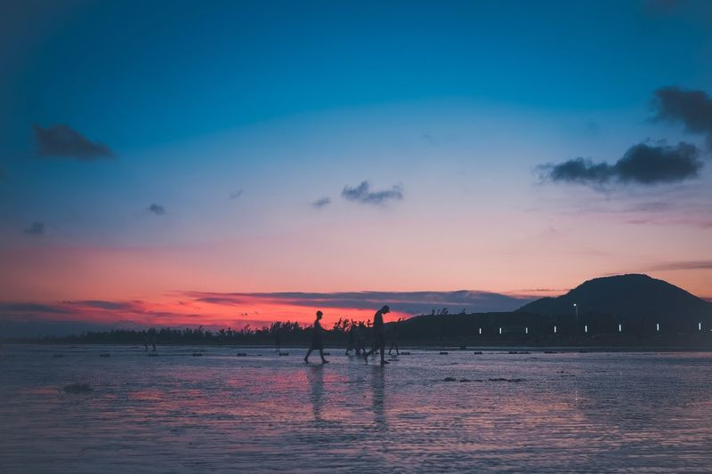 the beauty of sunset Water Sky Sea Sunset Beauty In Nature Scenics - Nature Beach Blue Mountain Outdoors Nature Cloud - Sky
