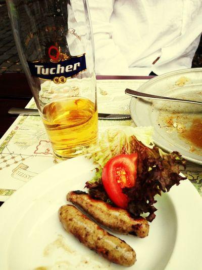 Wurst Bier Biergarten Deutschland