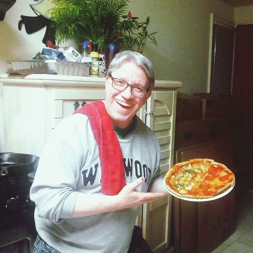 Cutting loose on pizza day with the family