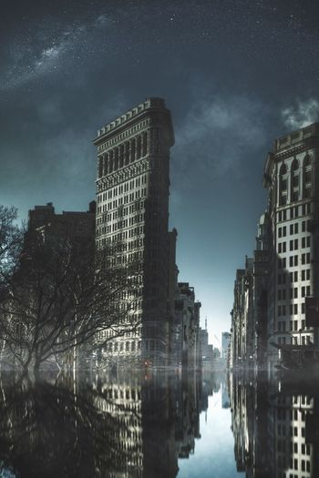 The end Flatiron Building New York IPhone Edit Fooling Around Apocalypse The End Building Reflection Water Stars Fog Cities At Night Light And Reflection