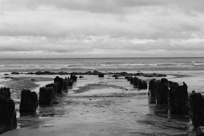 The Sea. Water Sea Horizon Over Water Beach Tranquil Scene Sky Beauty In Nature Nature Cloudy Summer Black & White Old Forgotten