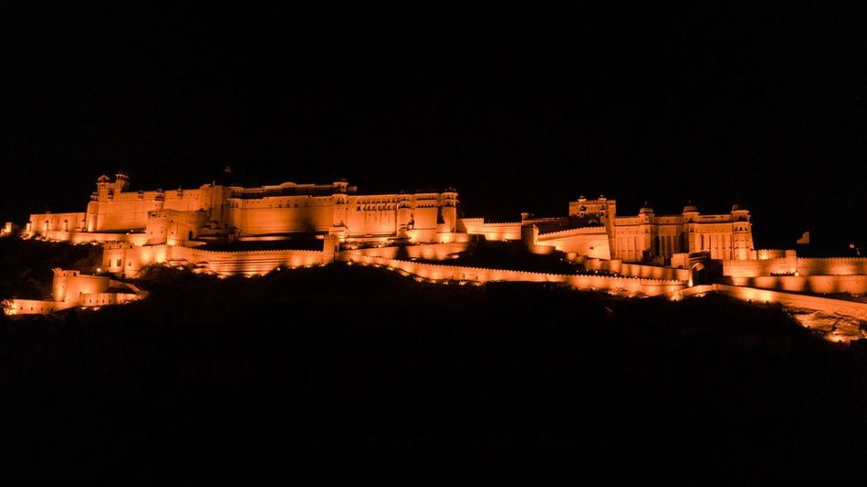 The amber fort Amer Fort Amber Fort Architecture Built Structure Building Exterior Night The Past Illuminated History Copy Space No People Nature Tourism Travel Sky Ancient Clear Sky Low Angle View Building Fort Travel Destinations Outdoors