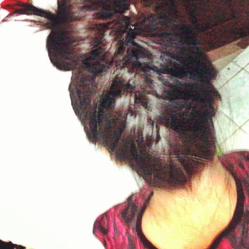 Yeah i know it aint perfect. But oh c'mon!! Its so hard to make!!! FirstTime Hairstyle Invertedbraid Topbun