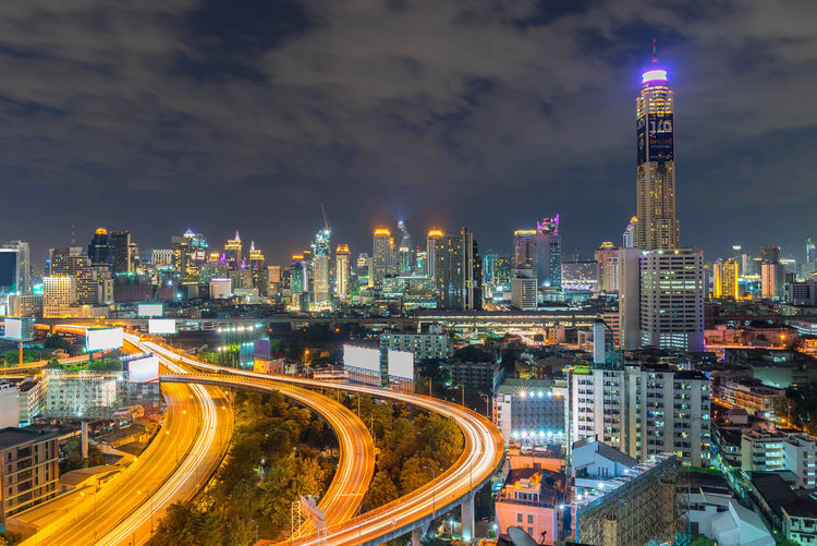 Night of the metropolitan bangkok city downtown urban skyline  cityscape bangkok city thailand