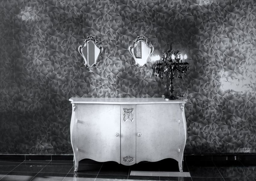 Blackandwhite Black And White Black & White EyeEm Best Shots - Black + White Day Wall Wallpaper Mirror Mirror Reflection Mirrors Reflection Hanging Furniture Candelabra Design Interior Design Interior Interior Views Indoor Photography Indoor Old-fashioned Retro Styled Reflections Ornate Furniture Design No People Lighting Equipment Indoors  Illuminated Close-up Wall - Building Feature Electric Lamp Table Floral Pattern Household Equipment Pattern Home Interior