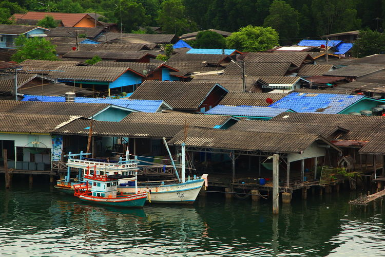 Fishing Boats In Thailand. Boats Day Fisherman Fishing Boat Nautical Vessel Outdoors Roof Ships Social Issues Transportation Tree Water First Eyeem Photo