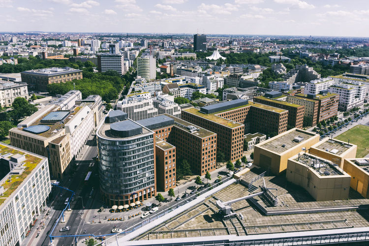Aerial view of cityscape Aerial View Architecture Berlin Building Exterior Built Structure City Cityscape Cityscape Cloud - Sky Color Image Crowded Day Germany 🇩🇪 Deutschland High Angle View Horizontal No People Outdoors Panorama View Potsdamer Platz Sky Skyscraper Travel Destinations Tree