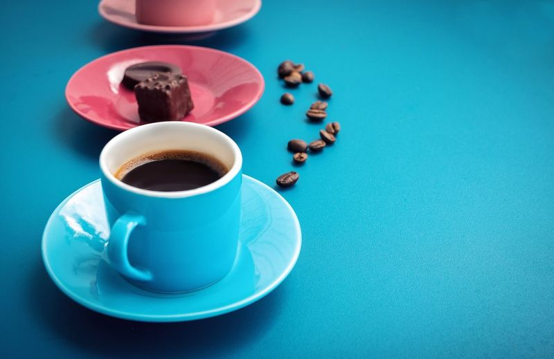 Coffee Coffee Time Blue Chocolate Coffee Cup Coffee - Drink Food And Drink Refreshment Table Drink Blue Background Cup High Angle View Freshness No People Close-up Indoors  Day