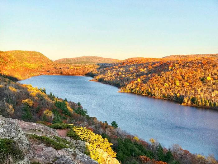 Lake of the Clouds in the Porcupine Mountains Upper Peninsula Landscape_photography Landscape Autumn colors Lake EyeEm Selects Sky Beauty In Nature Tranquility Tranquil Scene Scenics - Nature Nature Mountain Clear Sky Day Water Sunlight Outdoors Idyllic Environment