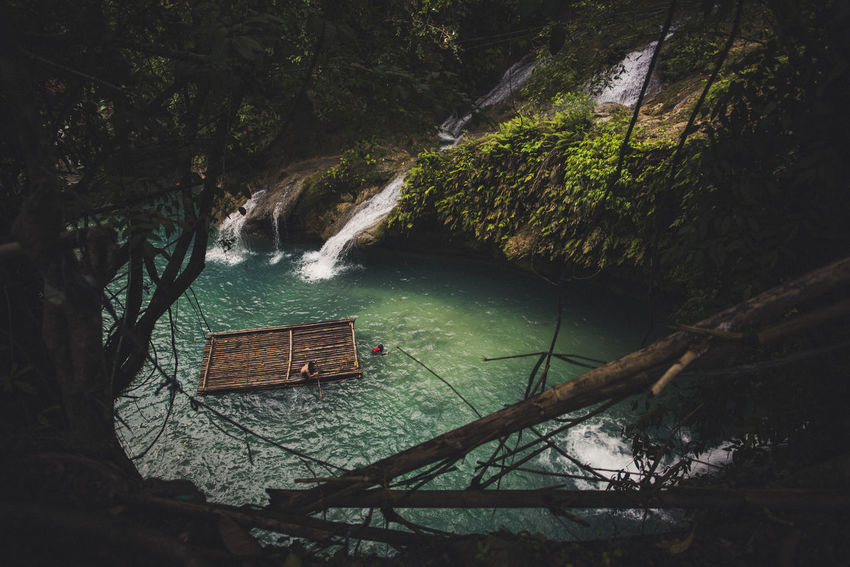 Paddle towards waterfall Beauty In Nature Branch Container Forest Kawasan Falls Land Nature Nautical Vessel No People Non-urban Scene Outdoors Plant River Scenics - Nature Tranquil Scene Tranquility Transportation Tree Water Waterfalls