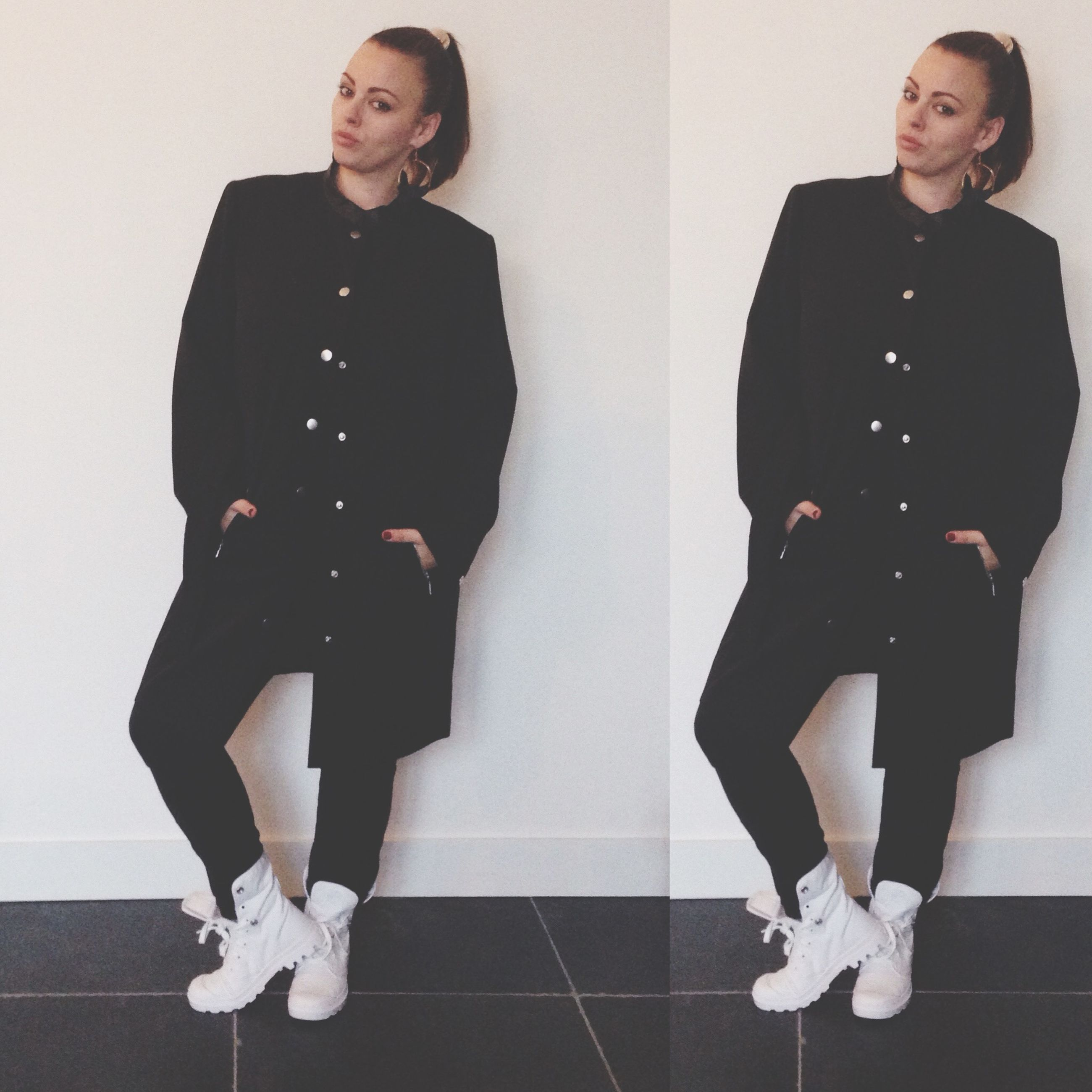 young adult, indoors, young women, person, lifestyles, front view, casual clothing, looking at camera, standing, portrait, leisure activity, full length, three quarter length, wall - building feature, fashion, smiling, happiness