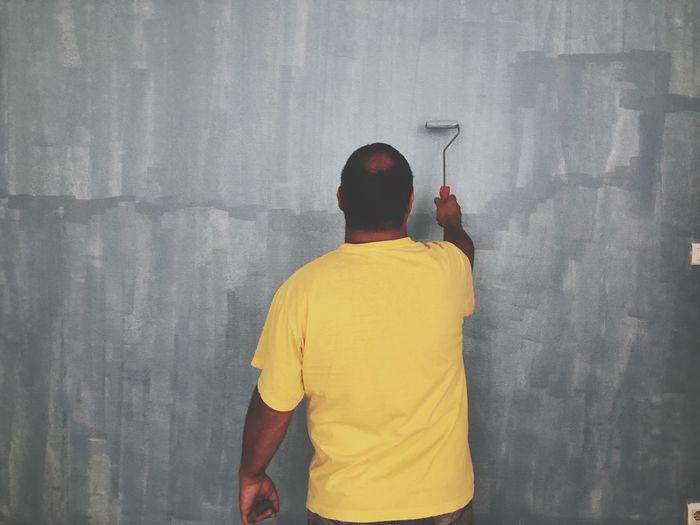 Rear view of man painting wall