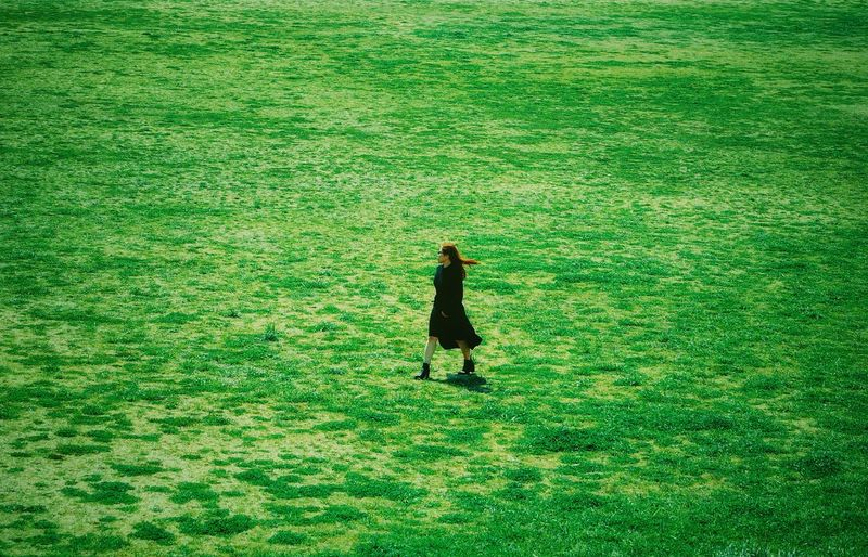 It's doesn't matter where you heading, what matters is you're still on your feet! Creative Photography Freedom Visual Creativity Strongwoman Travel Time Minimalist Minimal Minimalism Field Green Color One Person Grass Land Nature Field High Angle View Plant Real People Day Landscape Growth Rural Scene Standing Agriculture Lifestyles Outdoors Farm Environment Farmer