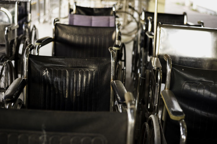 Close-up of wheelchairs
