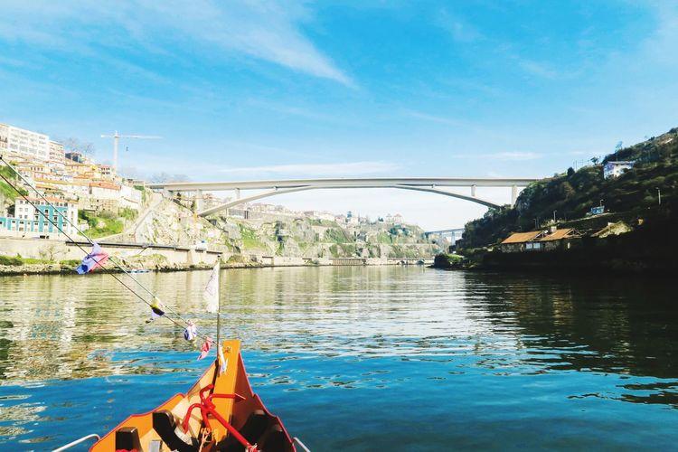 Infante D. Henrique Bridge over douro river in porto, potugal Boat Trip Porto Portugal Douro  River Boat Water Lake Beach Tree Reflection Fishing Sky Landscape