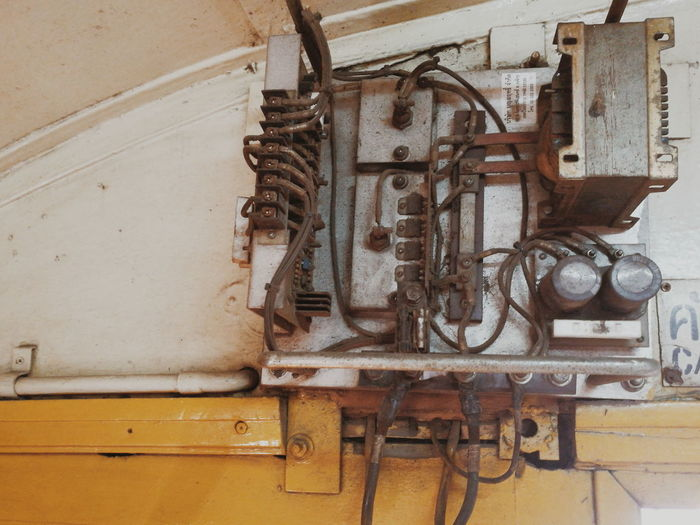 High angle view of old machine part