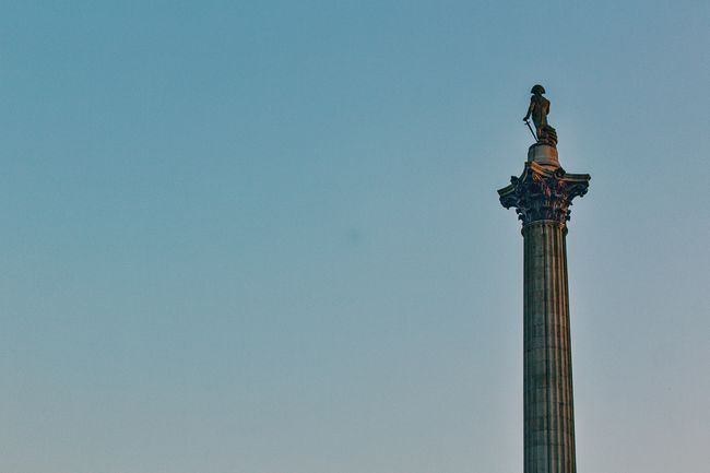 Nelsons Column First Eyeem Photo Blue Statue Clear Sky Low Angle View No People Copy Space Minimal Neweyeemhere London Tall Clear Sky TrafaglarSquare Nelson's Column
