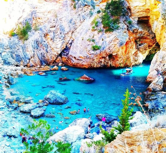 Gazipaşa/Antalya/Turkey Sea Boat Summer Swimming Wiew Rock Happiness Beauty In Nature Beach Sand Water Diving Sun Sky Tree Green Color Blue Turkey Turquoise First Eyeem Photo