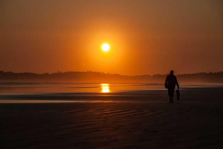 Rear view of silhouette man walking on beach at sunset