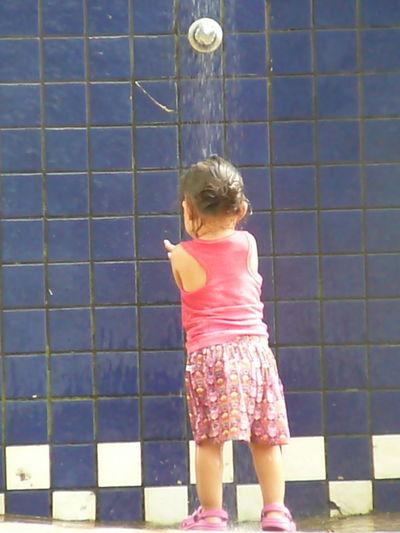 Blond Hair Child Childhood Full Length Girls Standing Shower Falling Water Shower Head Bathroom Outdoor Play Equipment Sandal