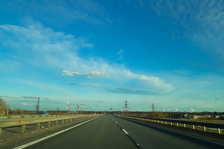 Highway against blue sky