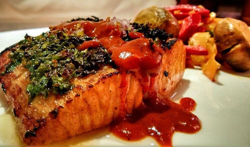 Dorado Fish Cilantro Licor De Naranja Flamado Salsa De Chiles Vegetables Mediterranean Food