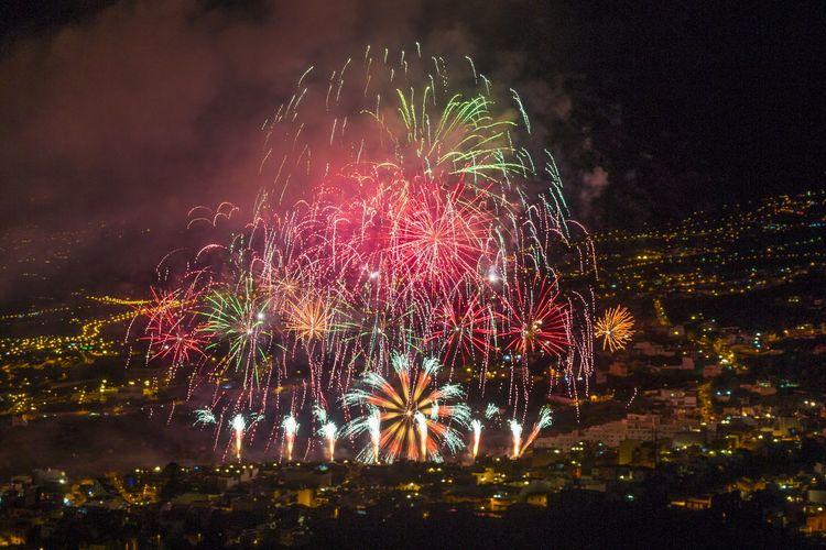 Fireworks over Los Realejos Night Fireworks Long Exposure Noche Fuegos Artificiales Larga Exposicion Multi Colored LosRealejos