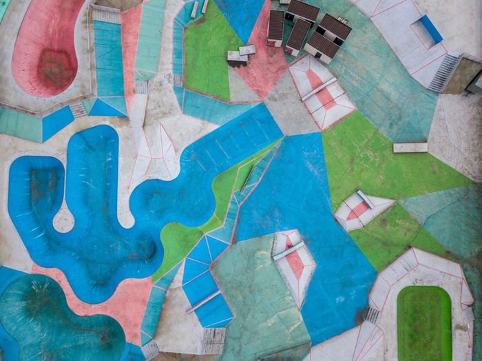 High angle view of multi colored swimming pool