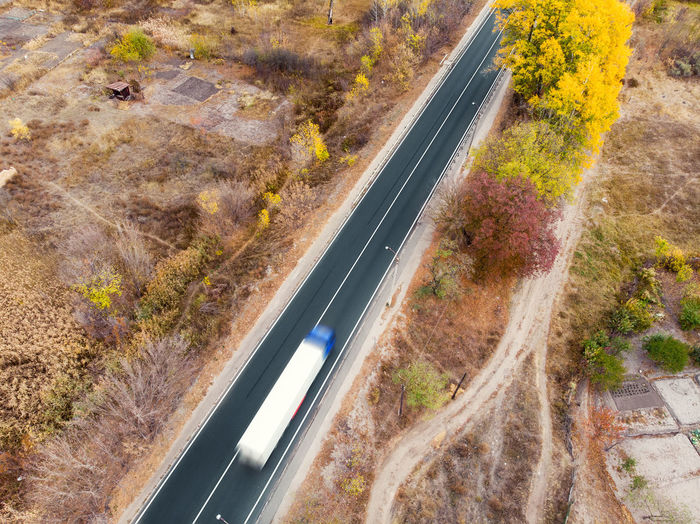 High angle view of road amidst plants during autumn