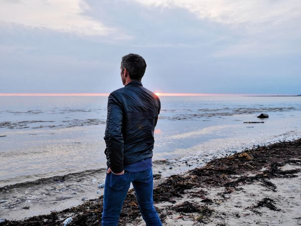 Fancy Man Beachlife Beach Photography Behind Fashion Alone Handsome Coast Coastal Life Coastal_collection Water Sea Seaside Horizon Over Water Back The Great Outdoors - 2016 EyeEm Awards The Portraitist - 2016 EyeEm Awards