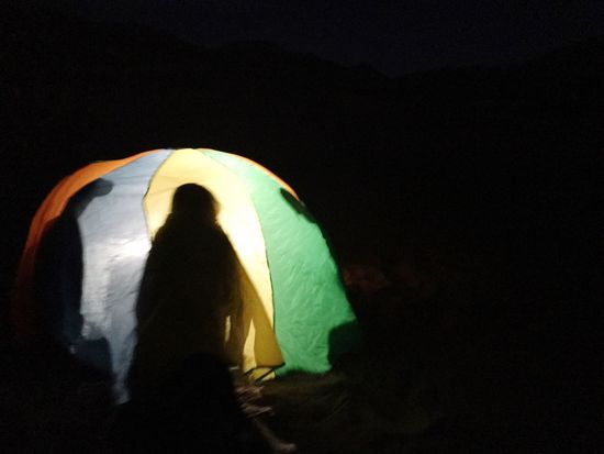 Night Rear View Adventure Full Length Black Background Outdoors People Parachute Tent