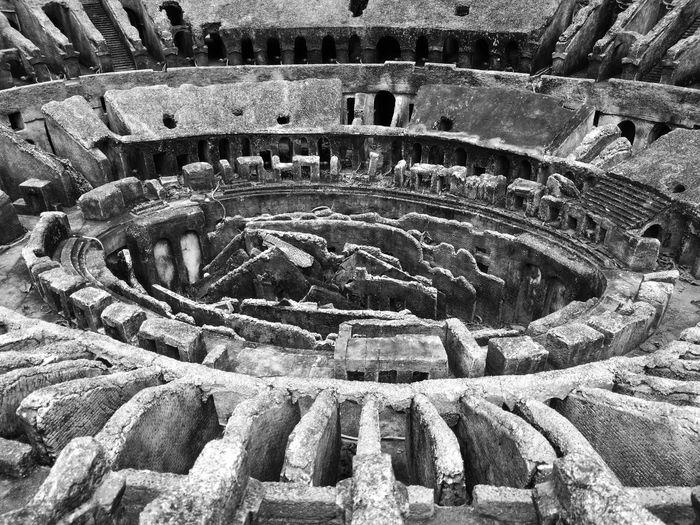 High angle view of colosseum